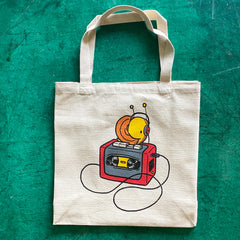 snail walkman tote bag