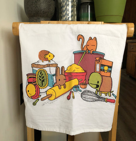 baking buddies flour sack tea towel