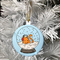 snow globe kitty ornament