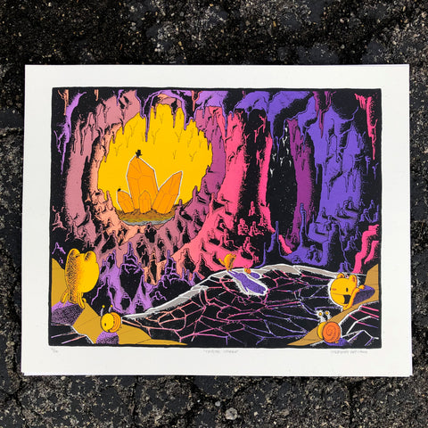 crystal caverns screen print (16x20)