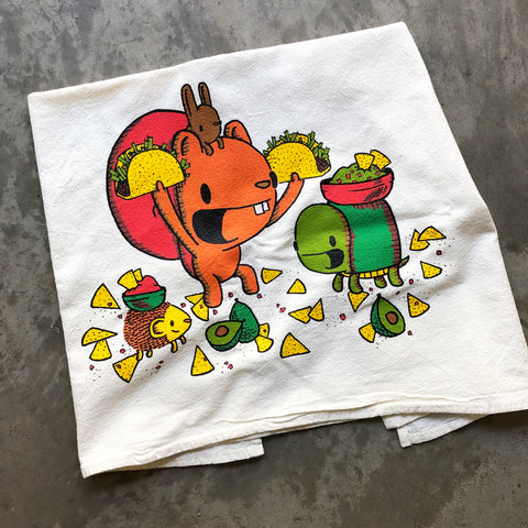 taco night flour sack tea towel