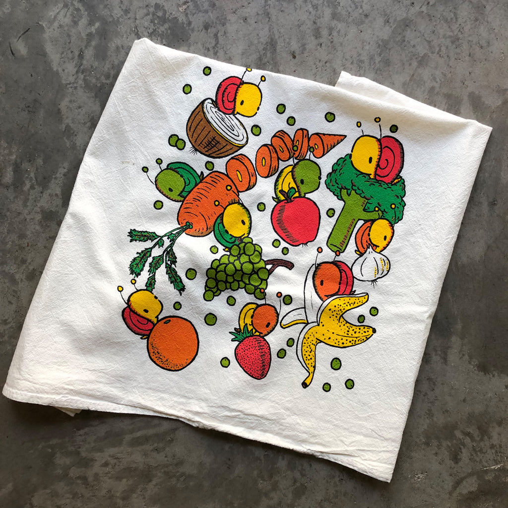 fruits and veggies flour sack tea towel