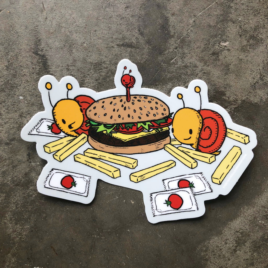 Snails + Hamburgers Sticker