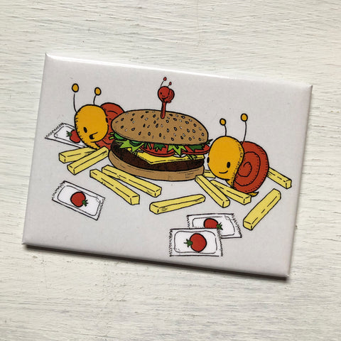 burger + fries magnet