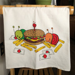 burgers + fries flour sack tea towel