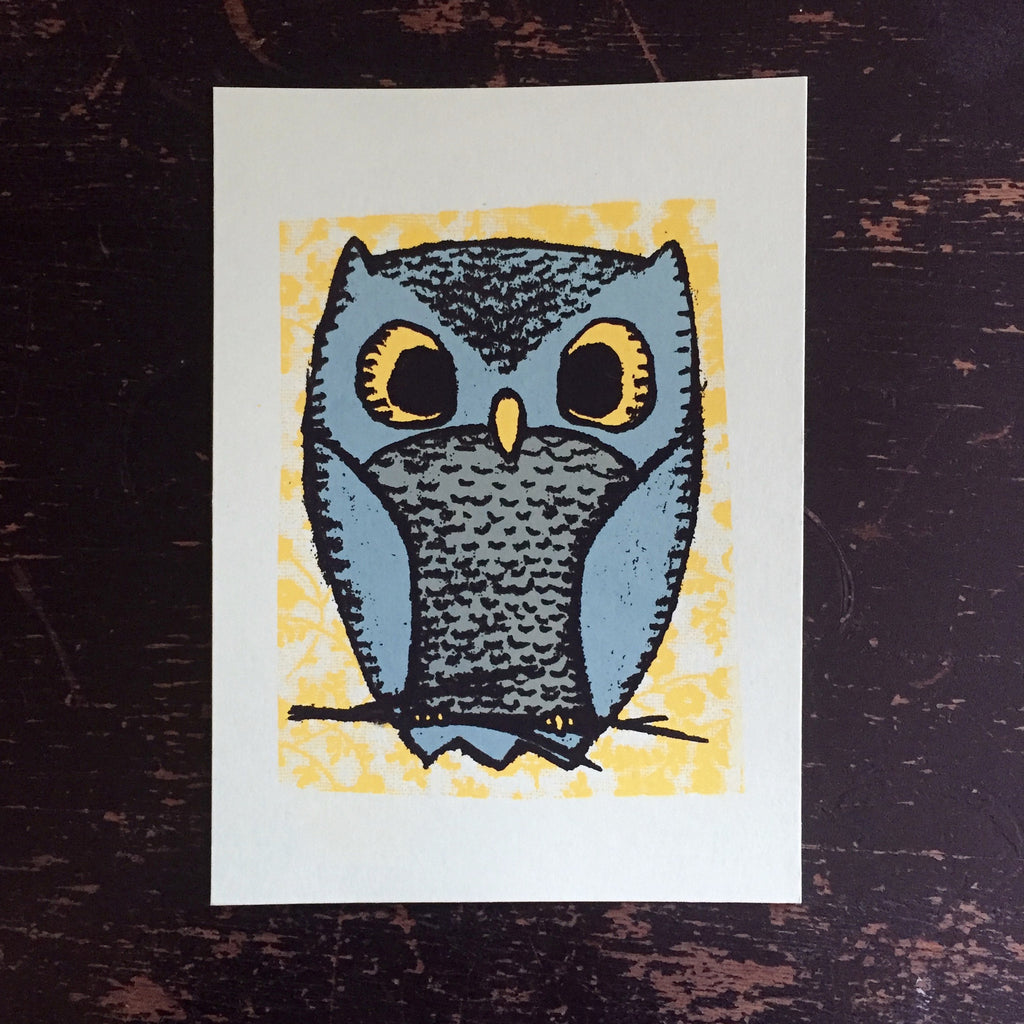owl screen print (blue/green) (5x7)