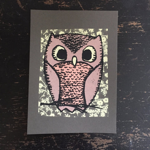 owl screen print (gray)