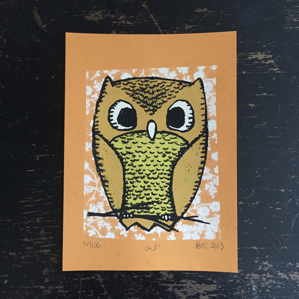 owl screen print (orange)