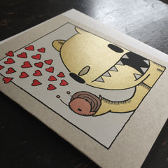 bear and snail love card, cute valentine card