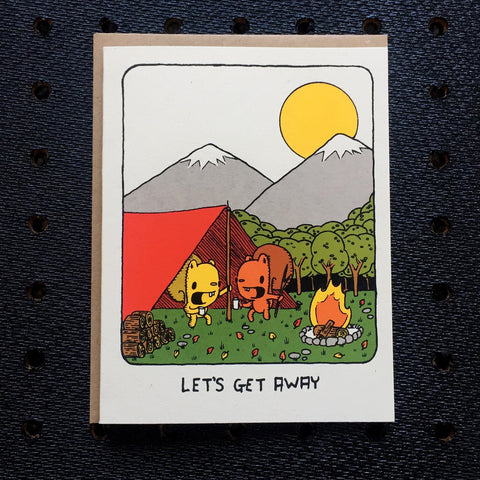 let's get away camping card