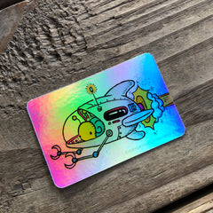 Snail Spaceship Holographic Sticker