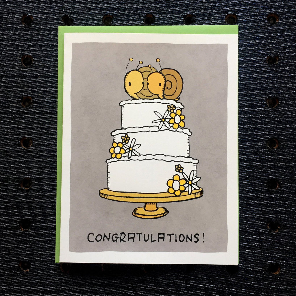 congratulations snail wedding card