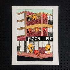 pizza place screen print, pizza print, art print