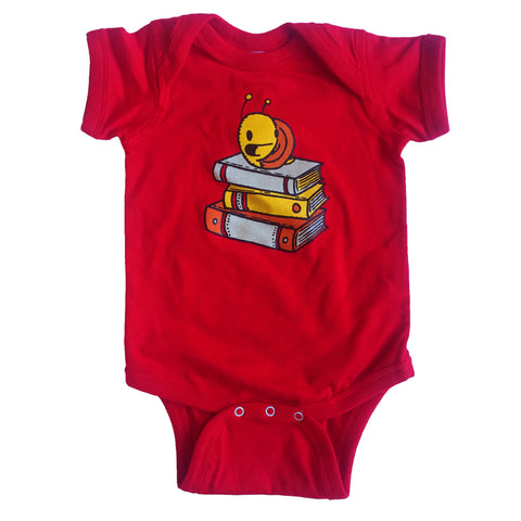 snail with books one piece bodysuit