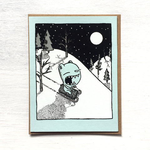 sledding bear holiday card
