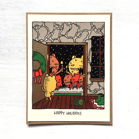 caroling bear holiday card