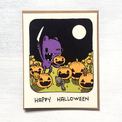 pumpkin carving halloween greeting card
