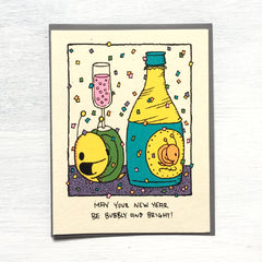 bright and bubbly new year holiday card