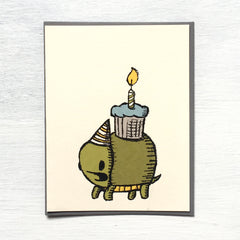 turtle cupcake birthday card