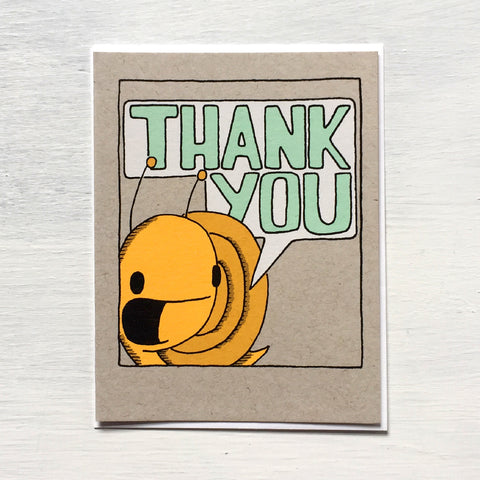 snail thank you speech bubble card greeting card