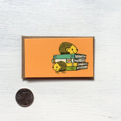hedgehog + books mini card