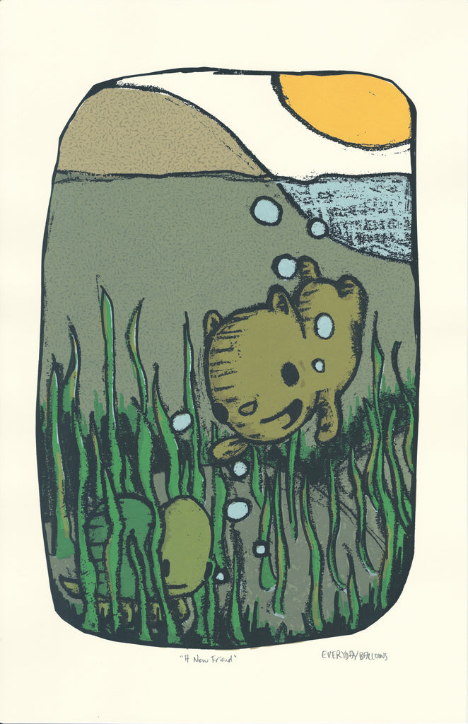 bear swimming print, kids room art