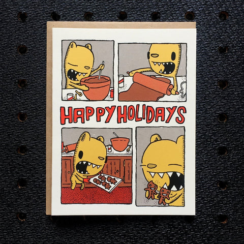 baking cookies holiday card