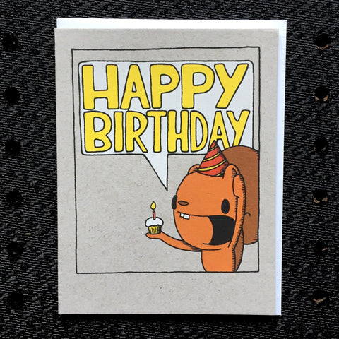 squirrel happy birthday speech bubble card greeting card