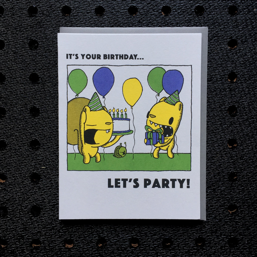 happy birthday let's party card