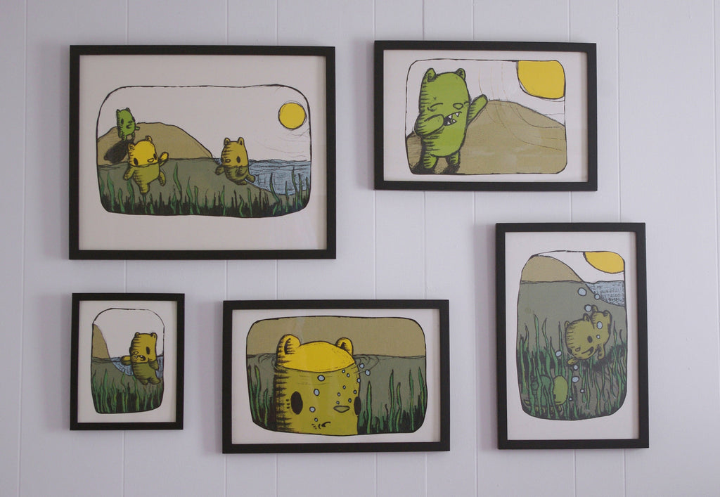 beachside bears - set of five prints