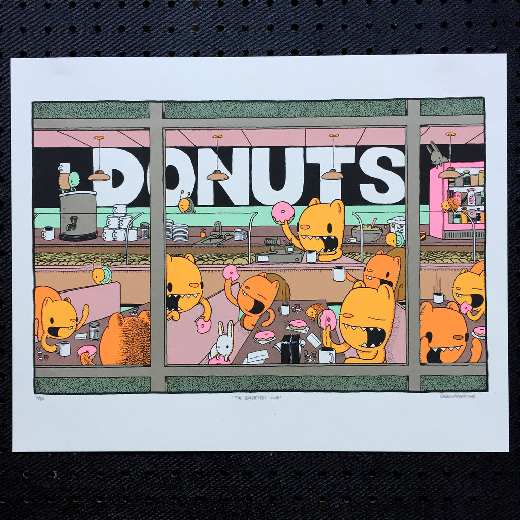 breakfast club - donut screen print (16x20)
