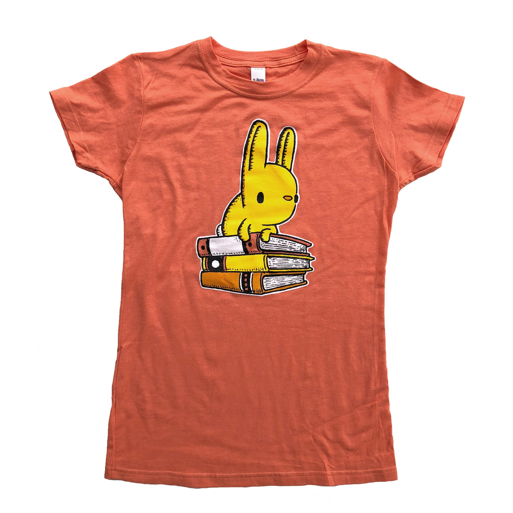 bunny with books ladies t-shirt