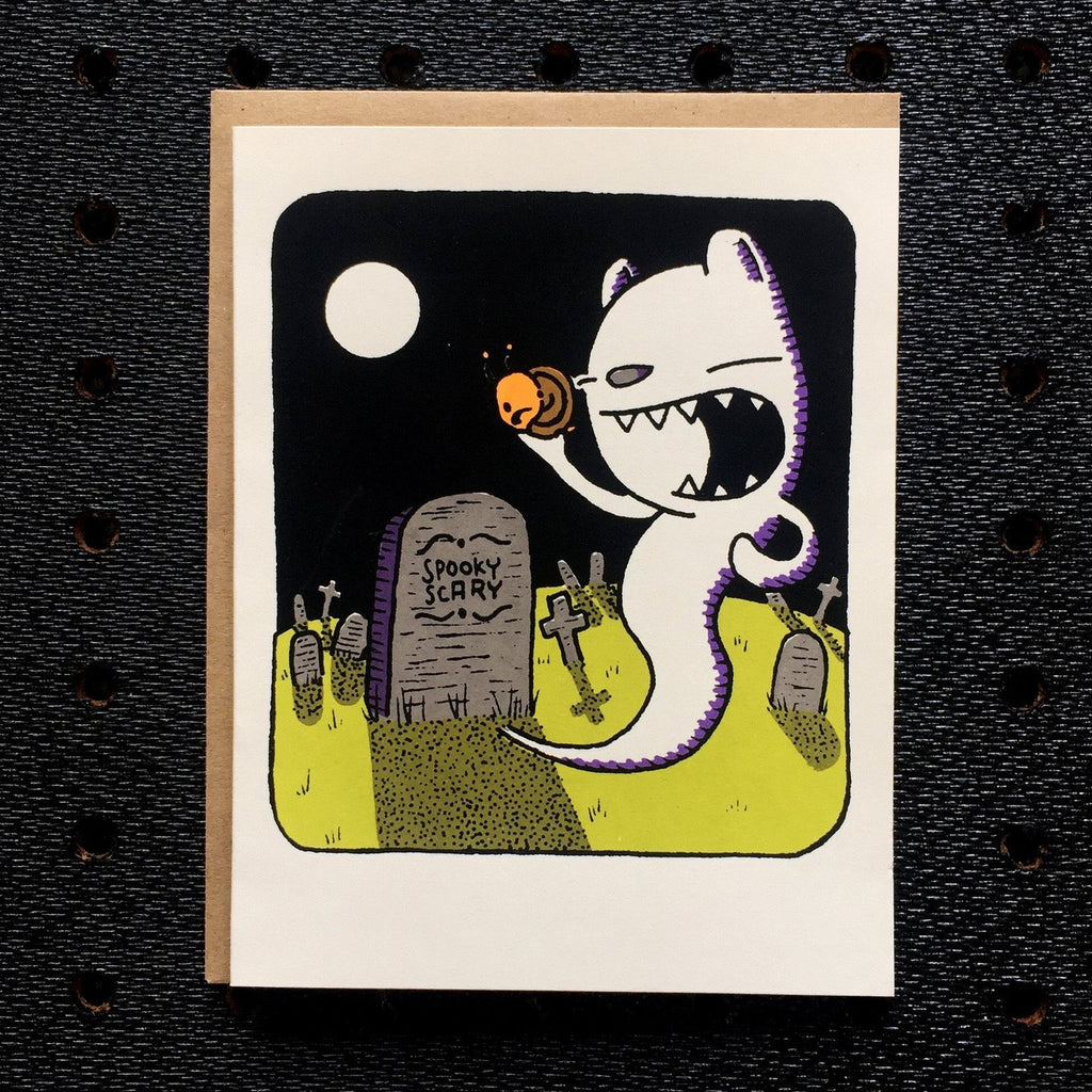 ghost bear halloween greeting card