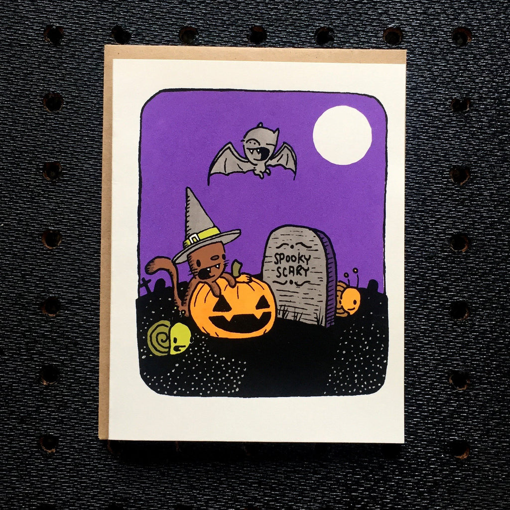 kitty witch halloween greeting card