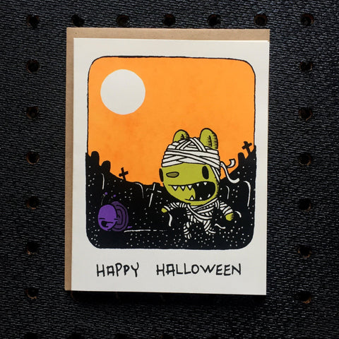 mummy bear halloween greeting card