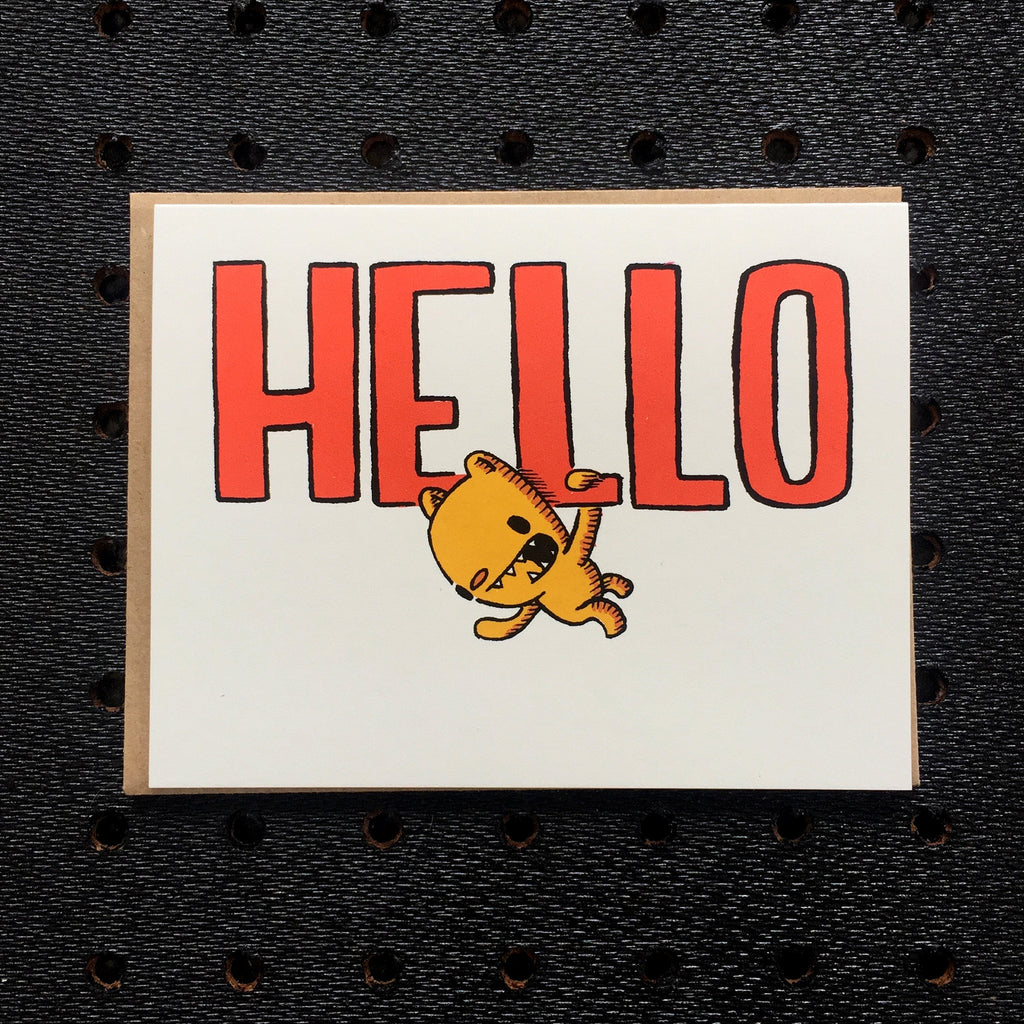 hello - bear - greeting card