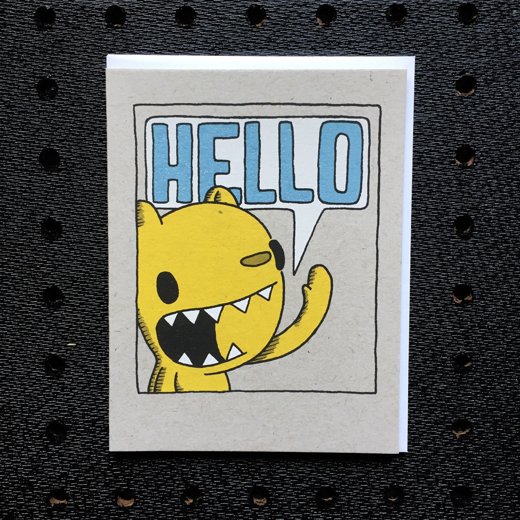 bear hello speech bubble card greeting card