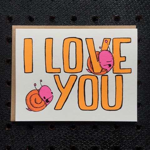 i love you - snails - greeting card