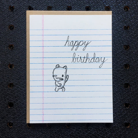 happy birthday - bear - notebook paper greeting card