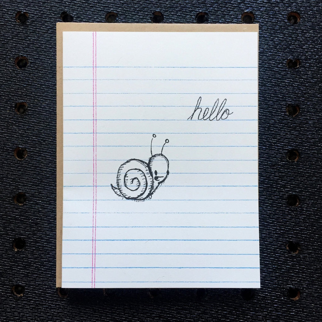 hello - snail - notebook paper greeting card
