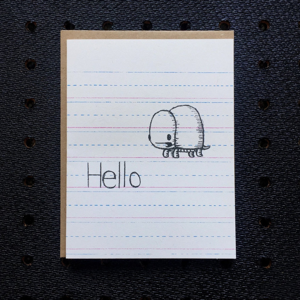 hello - turtle - kids notebook paper greeting card