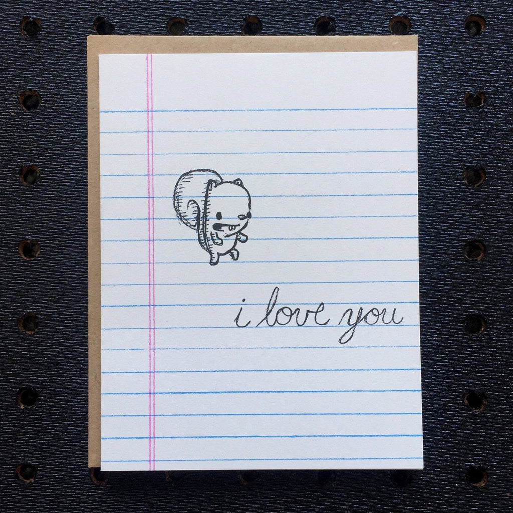 i love you - squirrel - notebook paper greeting card