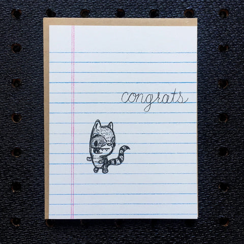 congrats - raccoon - notebook paper greeting card