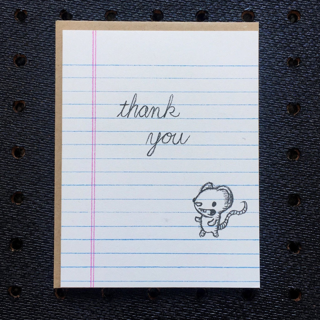 thank you - mouse - notebook paper greeting card