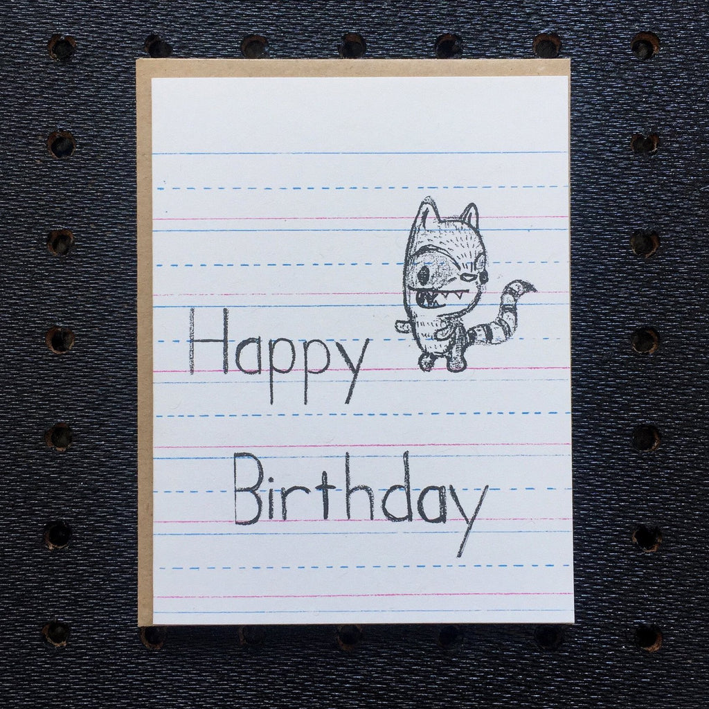 happy birthday - raccoon - kids notebook paper greeting card