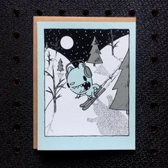 skiing bear holiday card