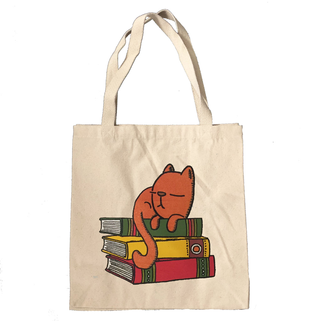 sleepy kitty book tote bag