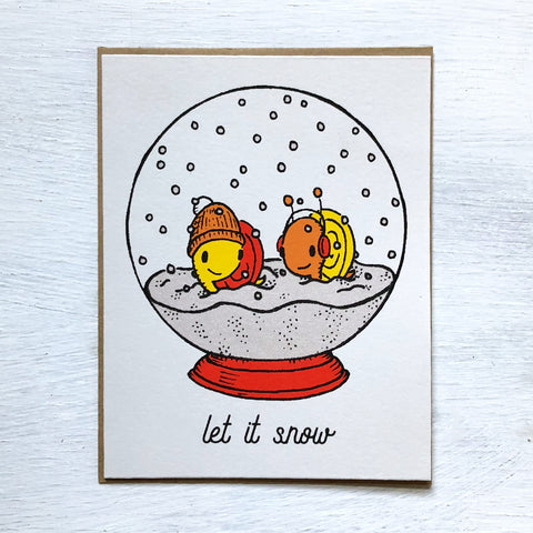 snail snow globe holiday card