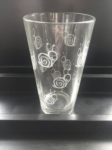 snail pint glass