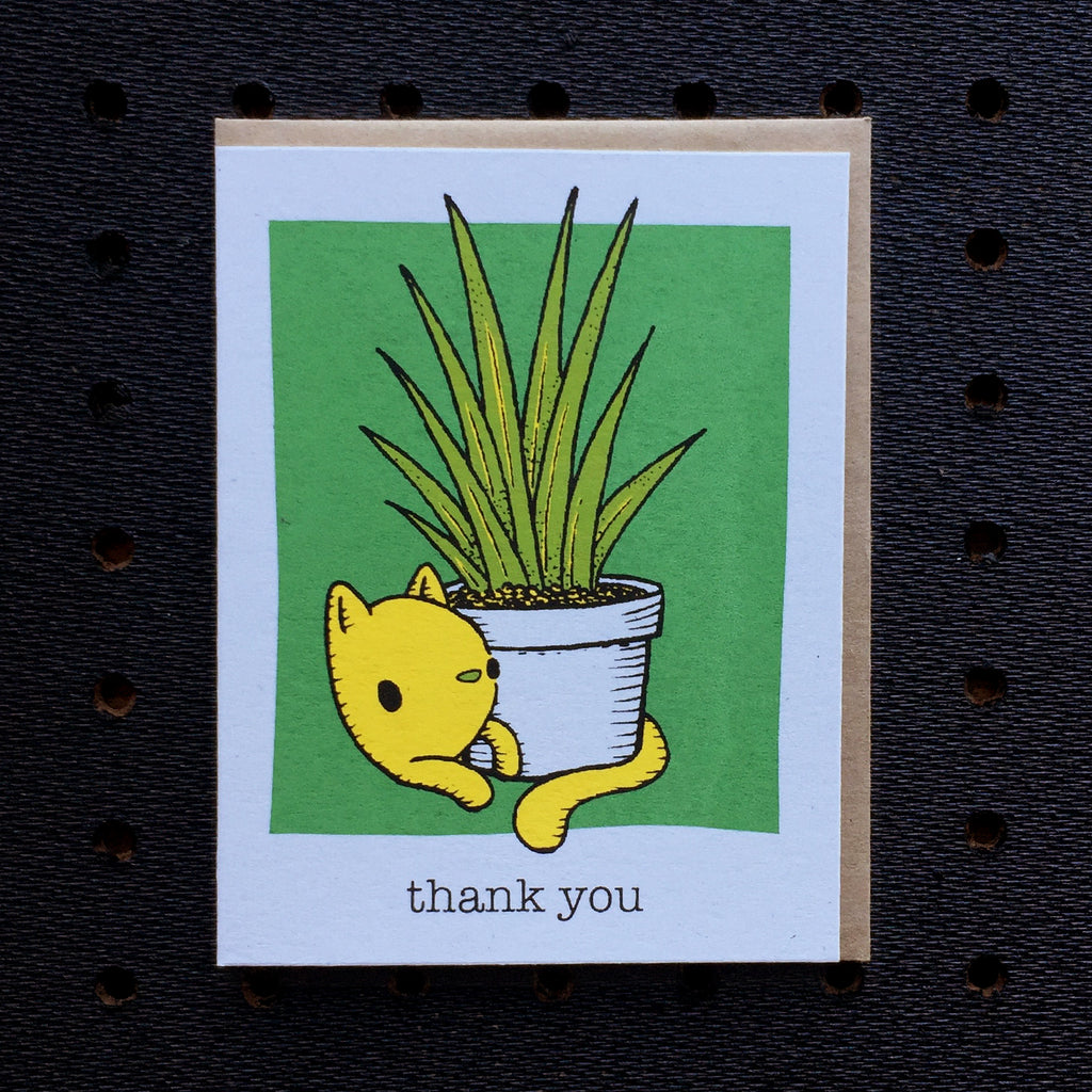 thank you cat with plant card